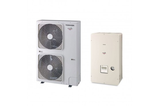 Термопомпа Toshiba Estia HWS-P804XWHT6-E/HWS-P804HR-E, 15 kW, отопление, охлаждане и БГВ